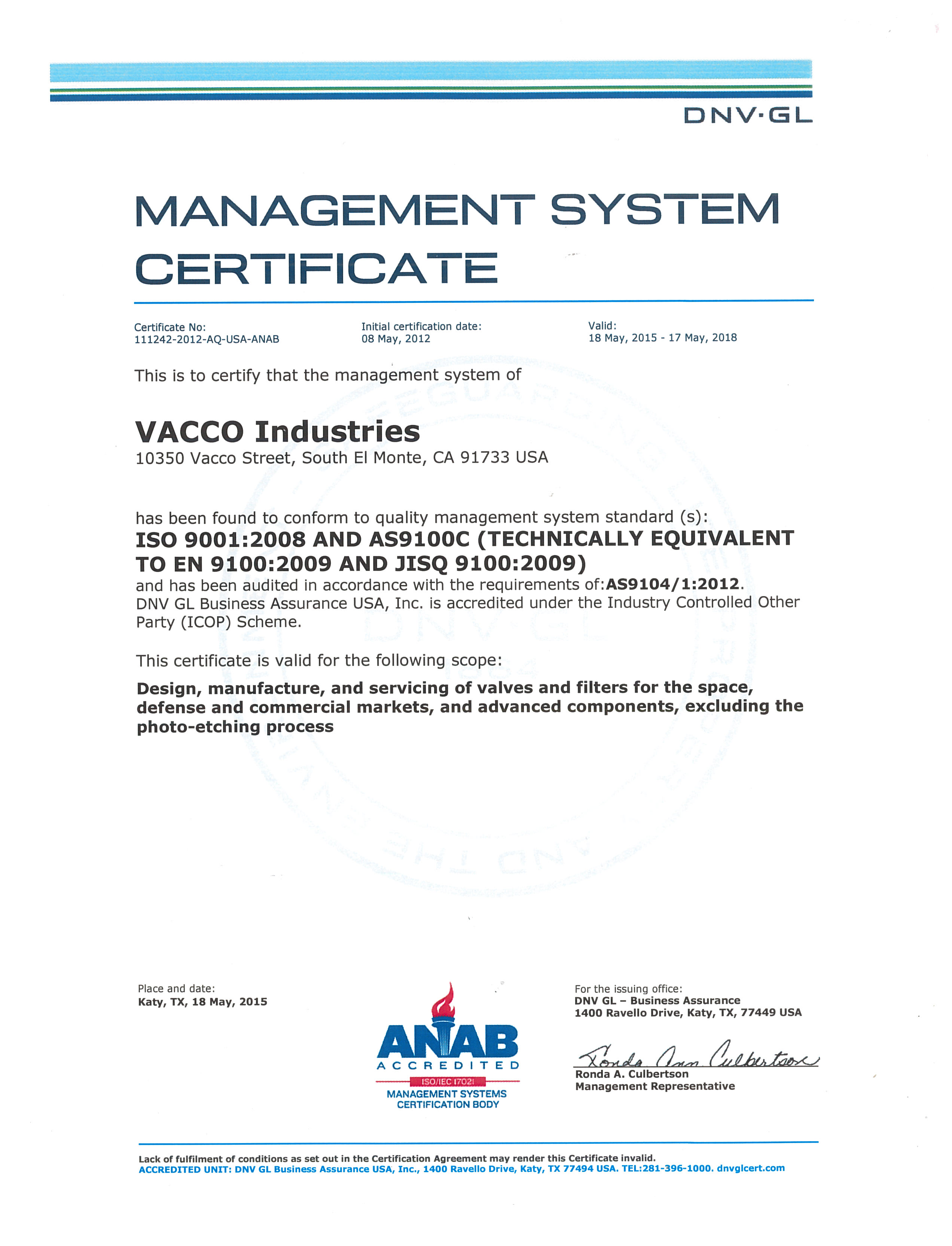 Vacco about quality assurance quality certificate iso 90012008 and as9100c 1betcityfo Image collections